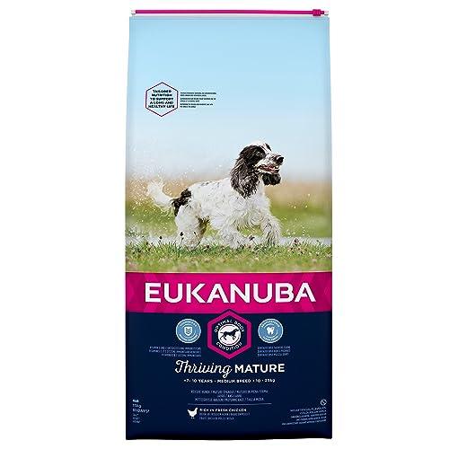 EUKANUBA - Croquettes pour Chien Mature Senior Race Moyenne - Poulet - 15kg
