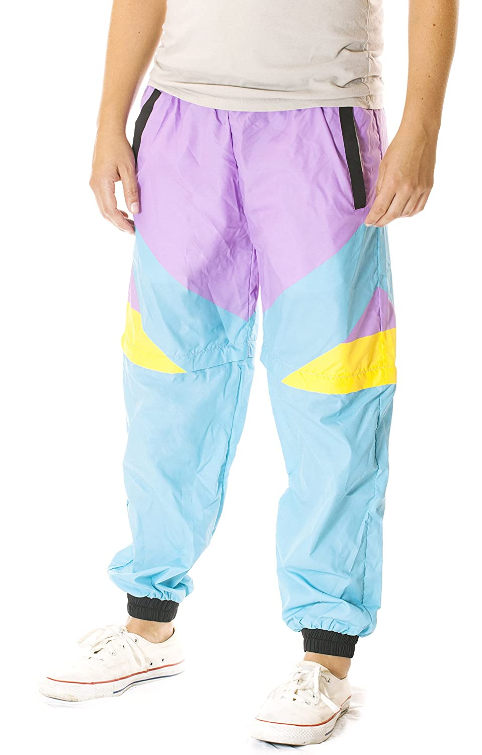 Men's Vintage Pants, Trousers, Jeans, Overalls Funny Guy Mugs 80s & 90s Retro Neon Windbreaker Pants - Convertible Shorts Or Pants $46.99 AT vintagedancer.com