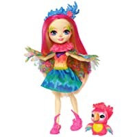 Enchantimals Mini-poupée Peeki Perroquet et Figurine Animale Sheeny, aux cheveux roses fuchsia avec jupe à motifs en tissu, jouet enfant, FJJ21