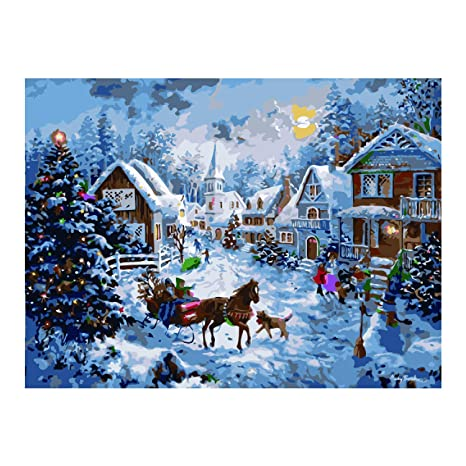 Acrylic Christmas Tree Painting.Antiniska Diy Paint By Numbers For Adults Kids Diy Painting Paint By Numbers Christmas Acrylic Paint By Numbers Painting Kit Christmas Hut Bedroom