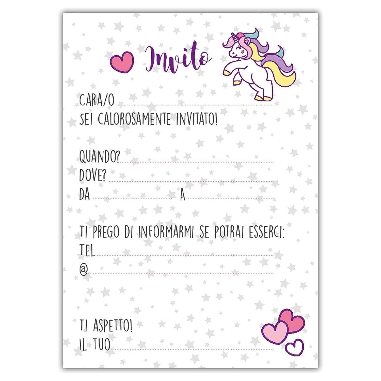Partycards Set Di 12 Inviti Compleanno Biglietti Invito Per Festa Compleanno Per Bambini E Adulti In Italiano Unicorno Magico