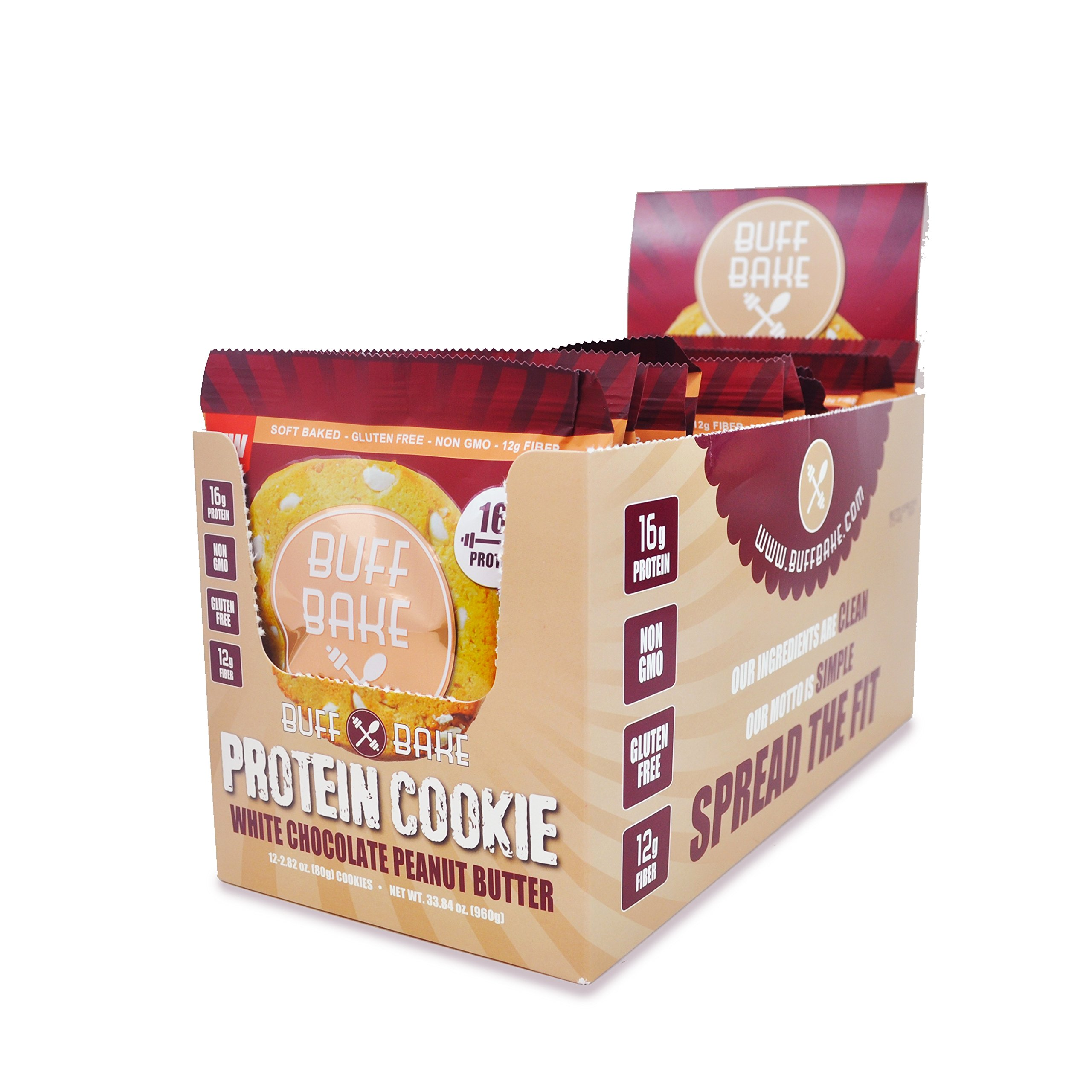 Buff Bake Gluten Free White Chocolate Peanut Butter Cookie, 12 Count