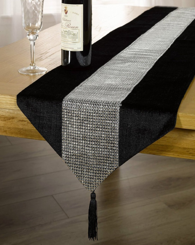 Black Table Runner Diamante Sparkle Velvet Bling Table Runner With Tassels 13 x 90 (33X230cm) Skippys