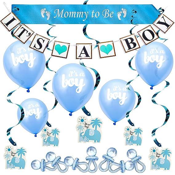 Baby Shower Azul Set para Niño Conjunto Decorativo para Fiesta Ducha de Bebé Paquete los Mejores Recuerdos Pancarta y Globos Its a Boy Banda Mommy to ...