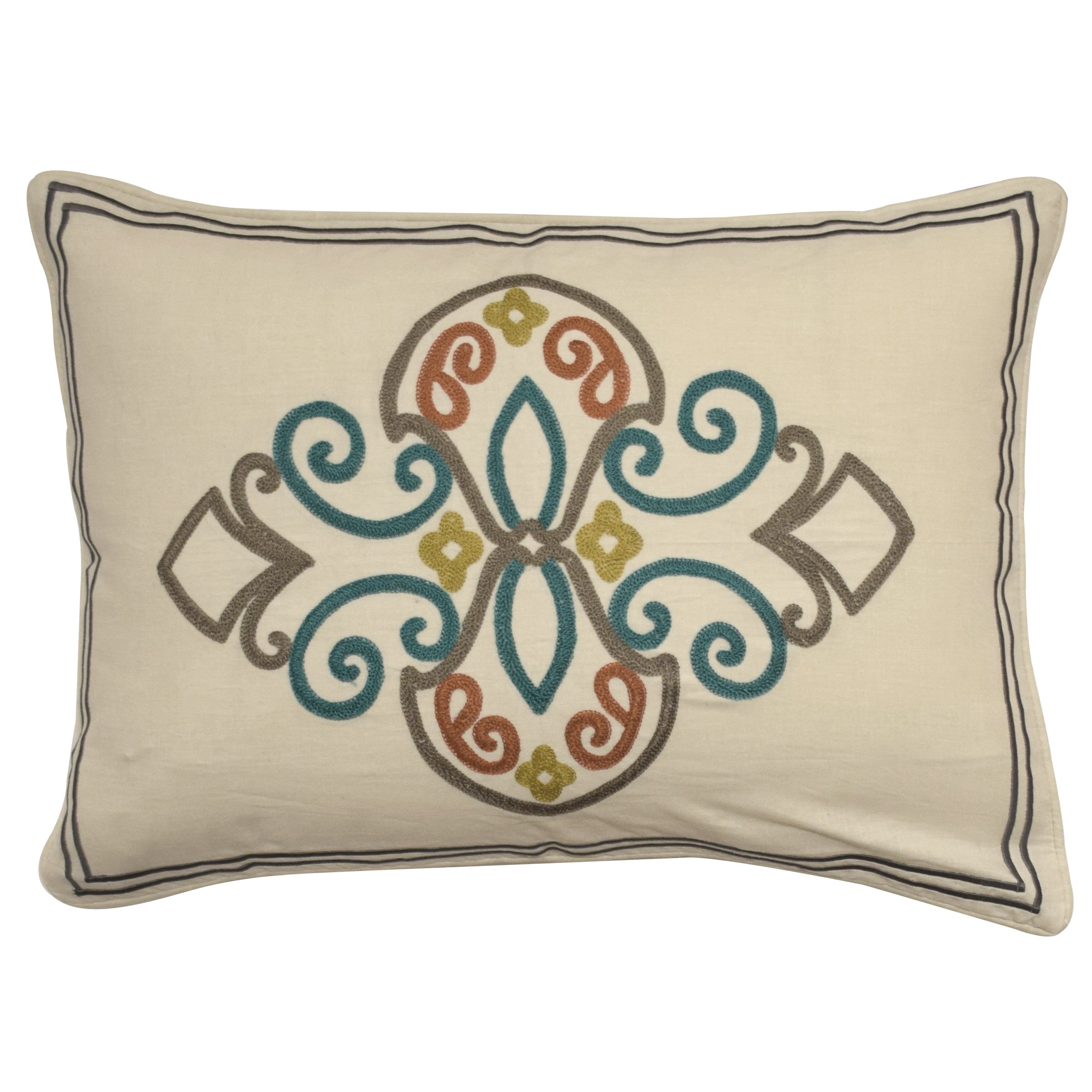 WAVERLY 16868014X020FST Boho Passage Embroidered Pillow, 14'' x 20'', Fiesta by WAVERLY