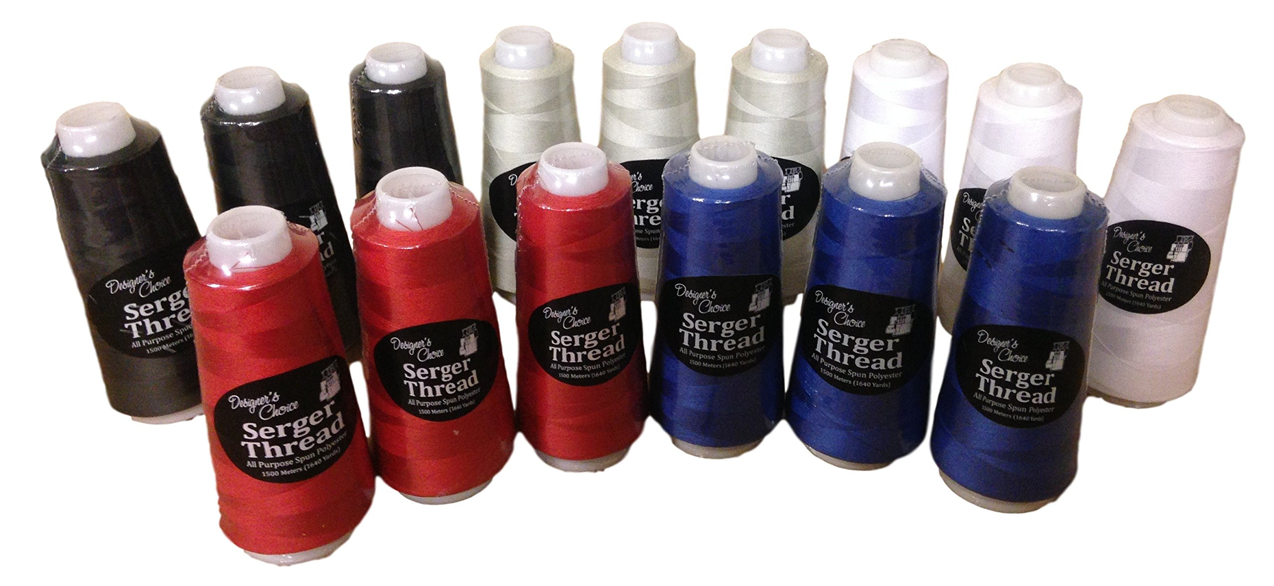 3 Thread Serger- Thread Bundle-15 Items: 3 each of 5 Colors (Red/Blue) (Primary) by Serger