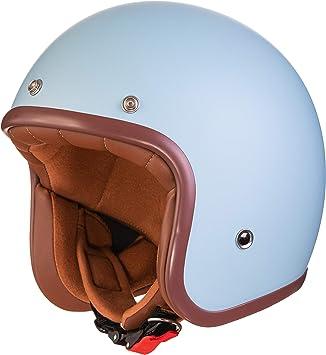 Original Fräulein Irmi Retro Vespa Helm Jet Helm Mit Sonnen Visier Roller Helm Für Frauen Und Herren Im Edlen Vintage Look Qualität Nach Ece Norm Hellblau Matt Auto