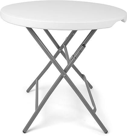 Park Alley - Table de jardin pliante blanche - Table ronde ...