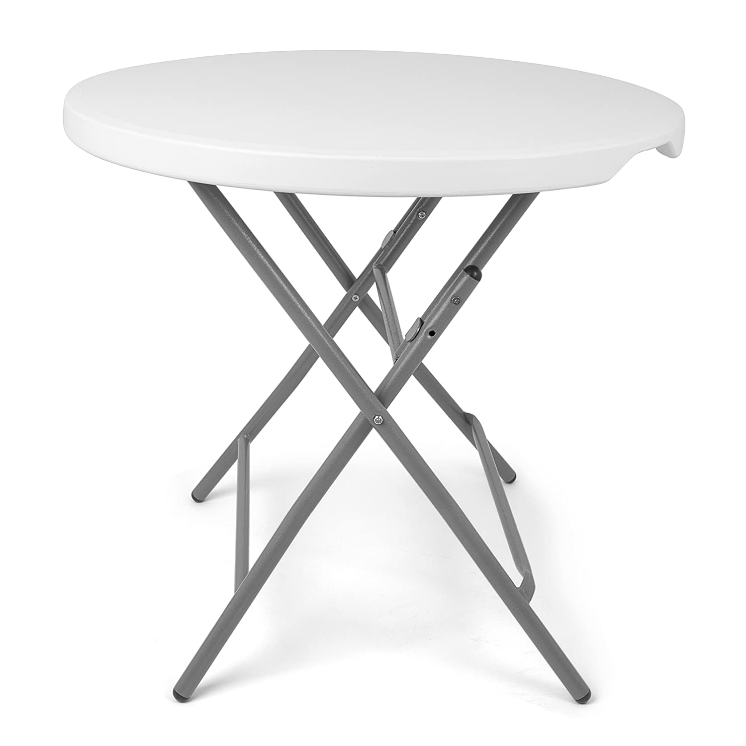 Park Alley PA-5212 Foldable Round Folding Balcony, Terrace and Garden – Can Be Used As Party Side Table – Diameter 80 cm – Height Approx. 74 cm, White, 80 x 74 x 110 cm