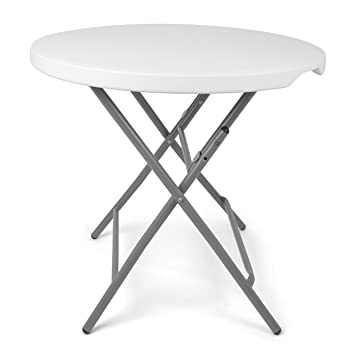 Park Alley - Table de jardin pliante blanche - Table ronde ...