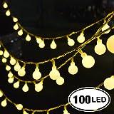 Catena Luminosa, Chenci® 100 LED Ghirlanda 14m per Festa/Matrimonio/Giardino/Natale/Impermeabile IP44 Interno ed Esterno 8 Modalità Flash con Adattatore【Classe di Efficienza Energetica A+++】