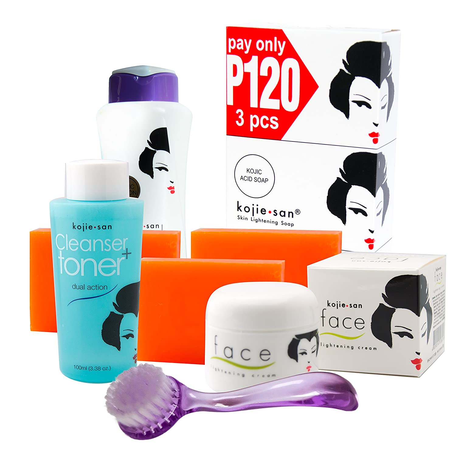 Kojie San Face & Body Complete Whitening 7pc Set -Kojic Acid Soap, Body Lightening Lotion with SPF25, Face Lightening Cream, Toner, and Cleansing Brush by Kojie San