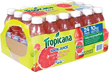 24-Pack Tropicana Ruby Red Grapefruit Juice, 10 Ounce