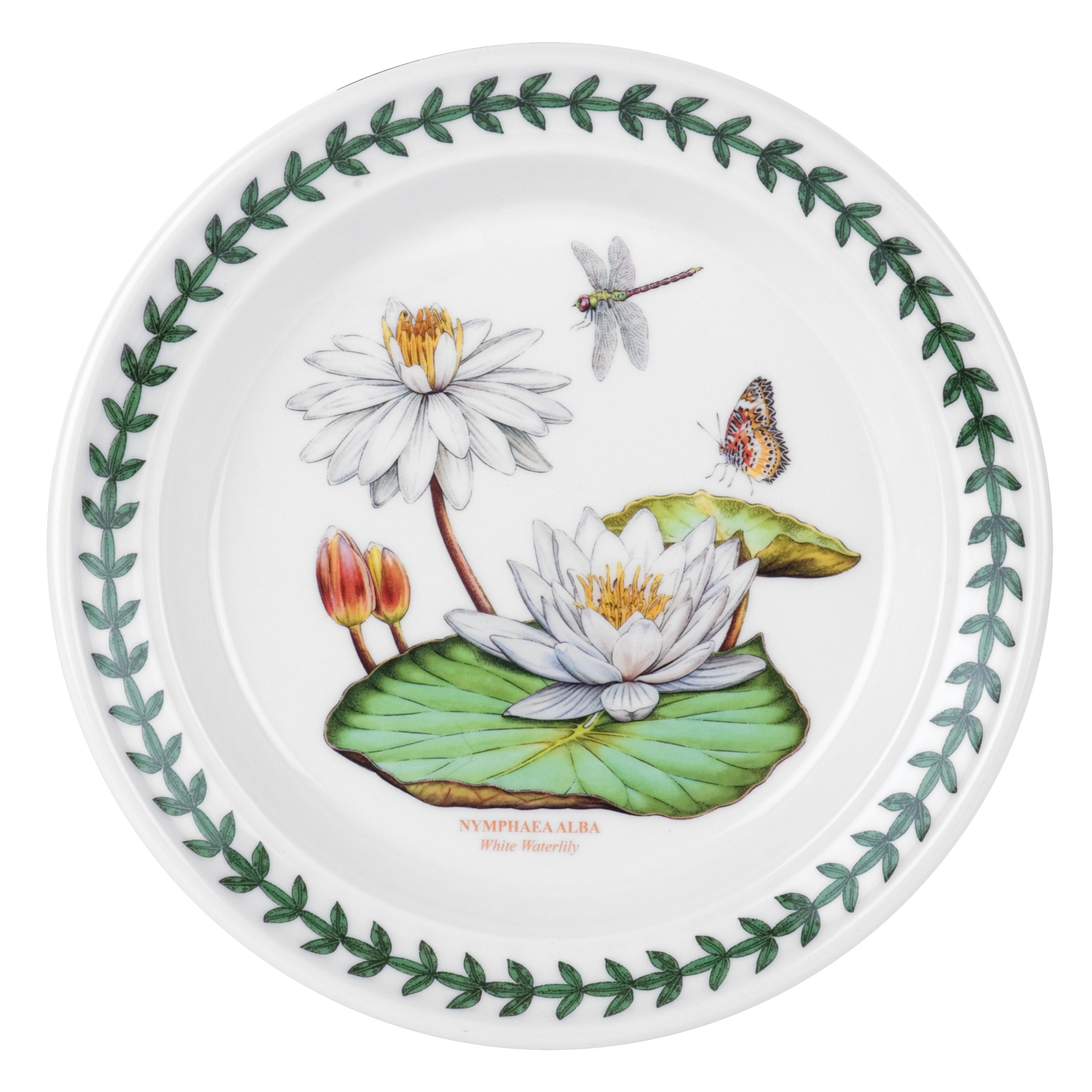 Portmeirion Exotic Botanic Garden Bread and Butter Plate with White Water Lily Motif, Set of 6