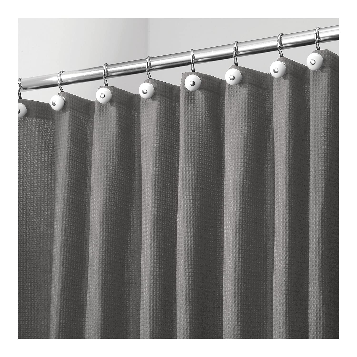 Amazon com mdesign hotel quality polyester cotton blend fabric shower curtain rustproof metal grommets waffle weave for bathroom showers and bathtubs