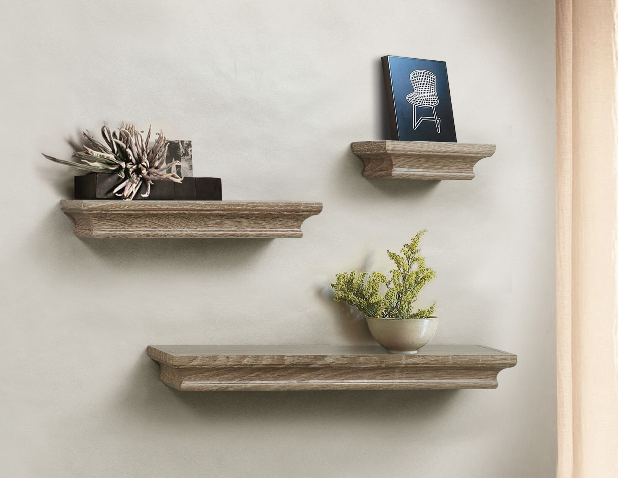 ahdecor floating shelves grey wash ledge wall shelf for home decor with 4 deep set of 3 pcs