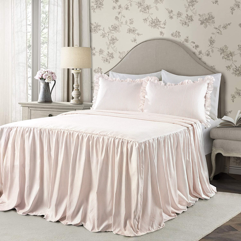 Lush Decor Blush Ticking Stripe Bedspread Shabby Chic Farmhouse Style Lightweight 2 Piece Set Twin