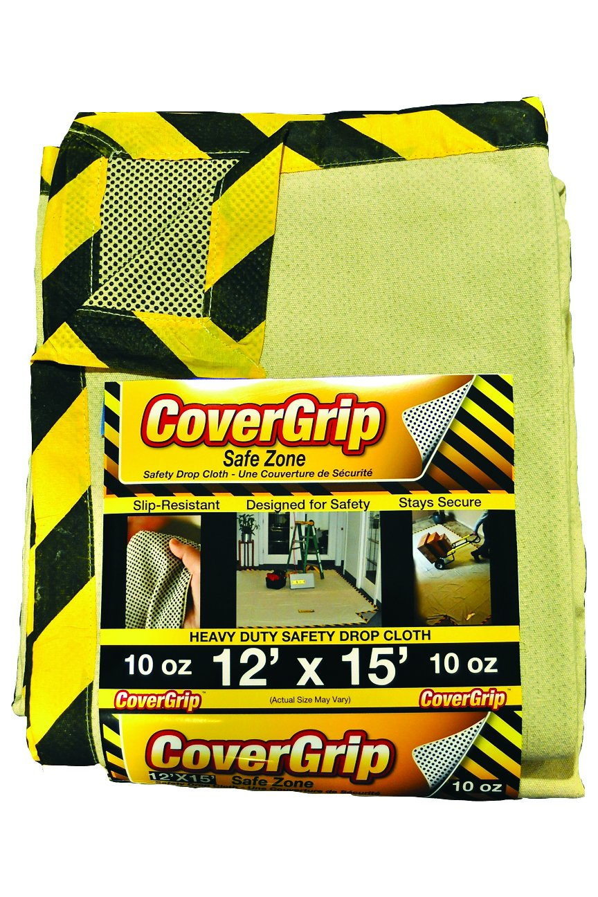 CoverGrip 121510 Heavy Duty Safe Zone 10 Oz Canvas SAFETY Drop Cloth, 12' x 15',