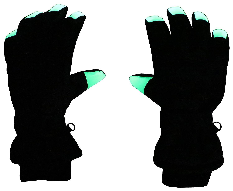 N'Ice Caps Kids Glow in the Dark Fingertip Waterproof Thinsulate Winter Gloves 4915-BK-TODLXL
