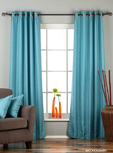 Indian Selections Lined-Turquoise Ring Top Matka Raw Silk Curtain Drape – 80W x 120L – Piece