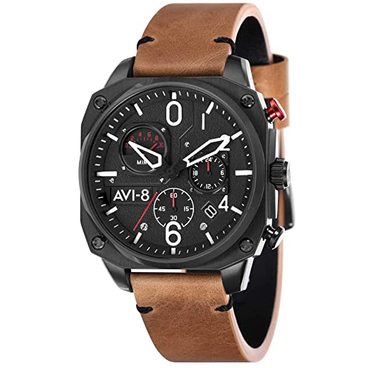 AVI-8 Hawker Hunter Reloj de Hombre Cuarzo 45mm Correa de Cuero AV-4052-02: Amazon.es: Relojes