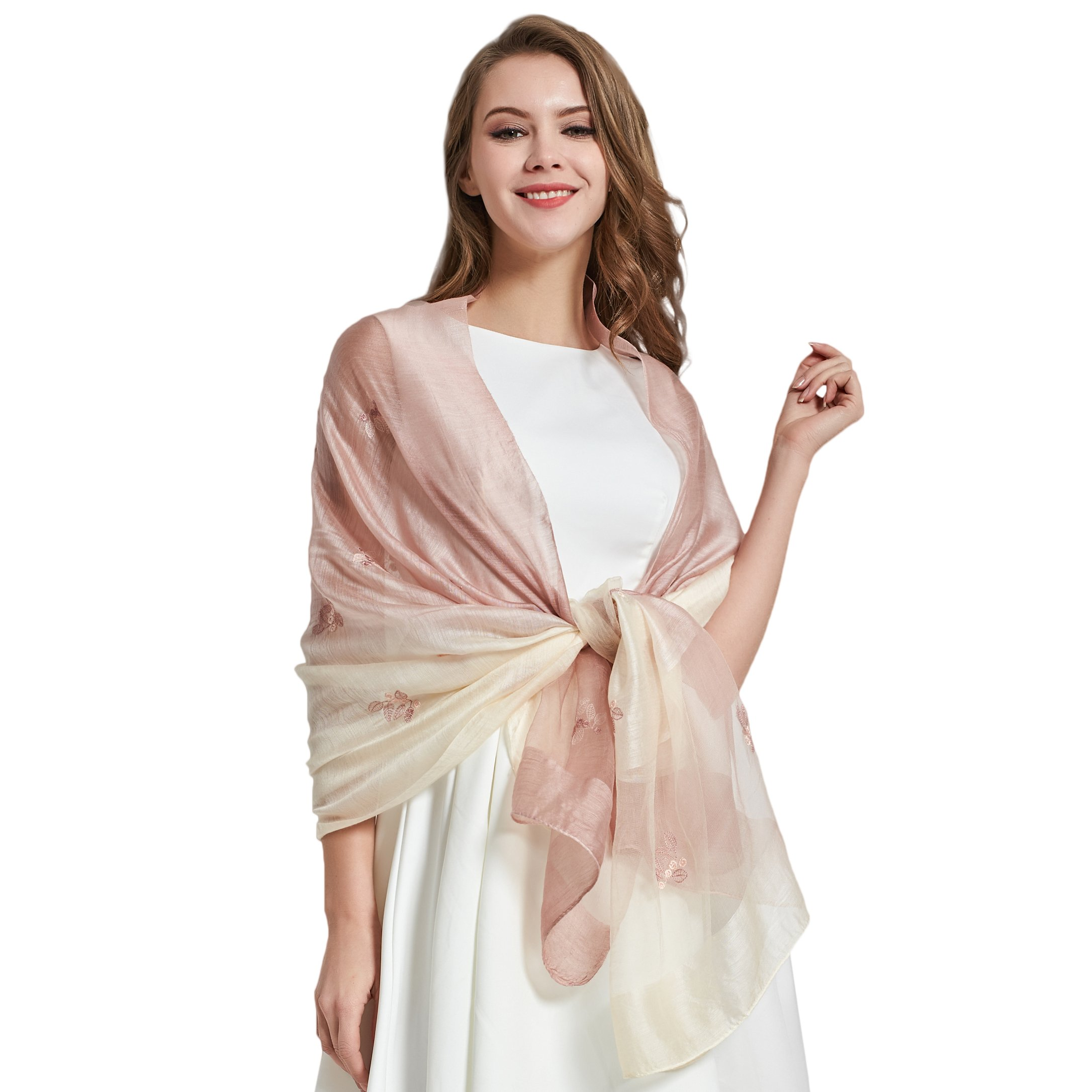 WENKOM Silk Scarf for Women Fashion Shawl Elegant Wrap for All Seasons Lightweight and Luxury Style with Gift Box 2018 Spring & Summer Collection New Launch Embroidered with Flowers Pink Color