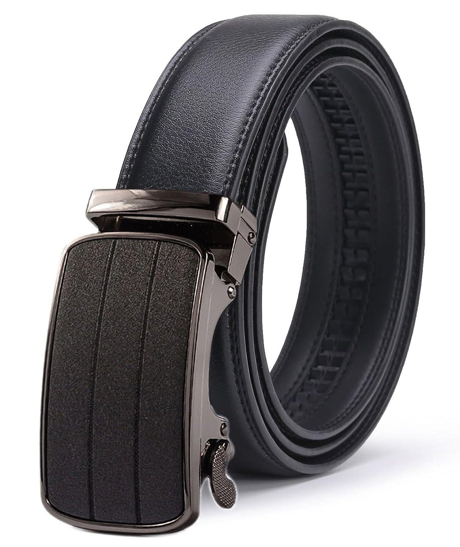 ITIEZY Ceinture Homme en Cuir Boucle Automatique Noir (Style Classique) 102  Noir Custom  jusqu à 125 cm fefe45050f0