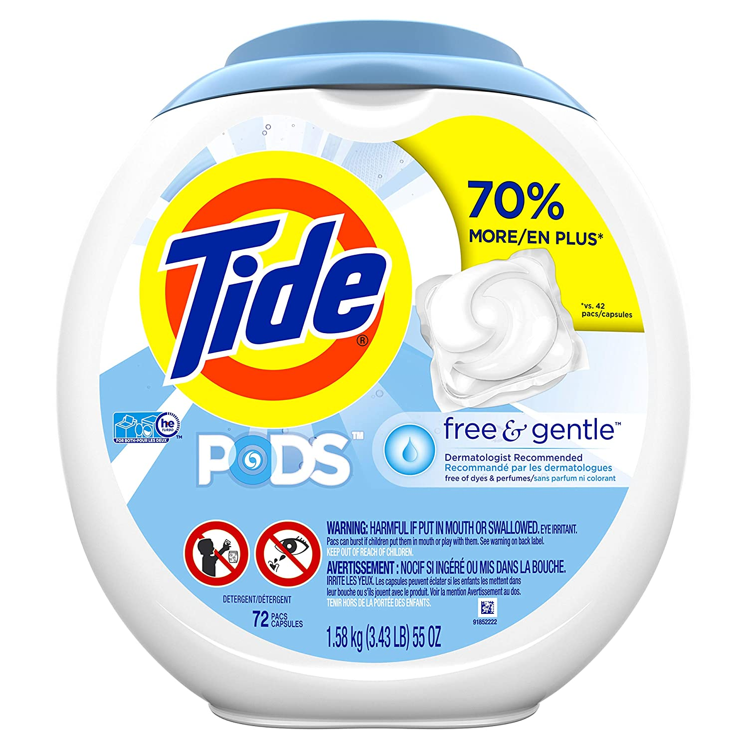 Tide Pods Free and Gentle HE Laundry Detergent, 72 ct by Tide B00J7OO0N8