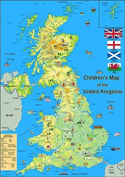 Immagini Della Cartina Della Gran Bretagna.Bambini Illustrato Mappa Del Regno Unito Carta Plastificata Formato A1 Amazon It Cancelleria E Prodotti Per Ufficio