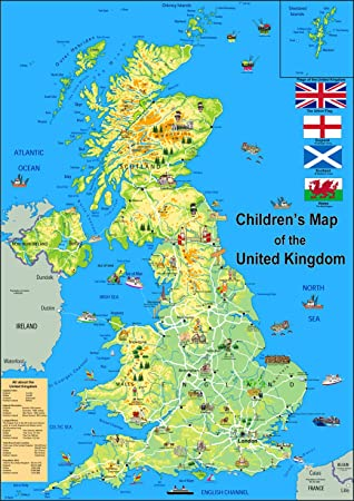 Size A Vinyl Childrens Illustrated Map Of The United Kingdom - United kingdom map