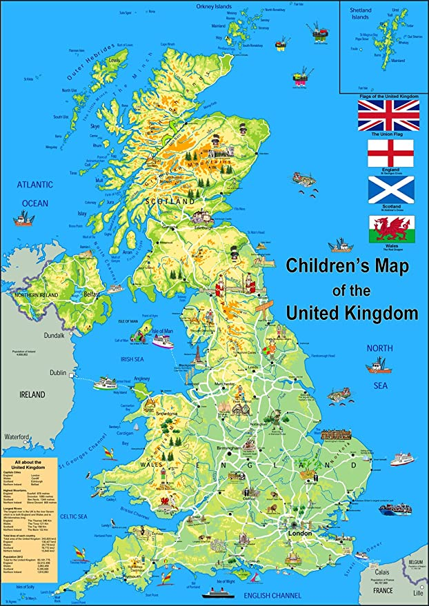 Map Of France For Children.Tiger Moon Children S Illustrated Map Of The United Kingdom Paper Laminated Size A1
