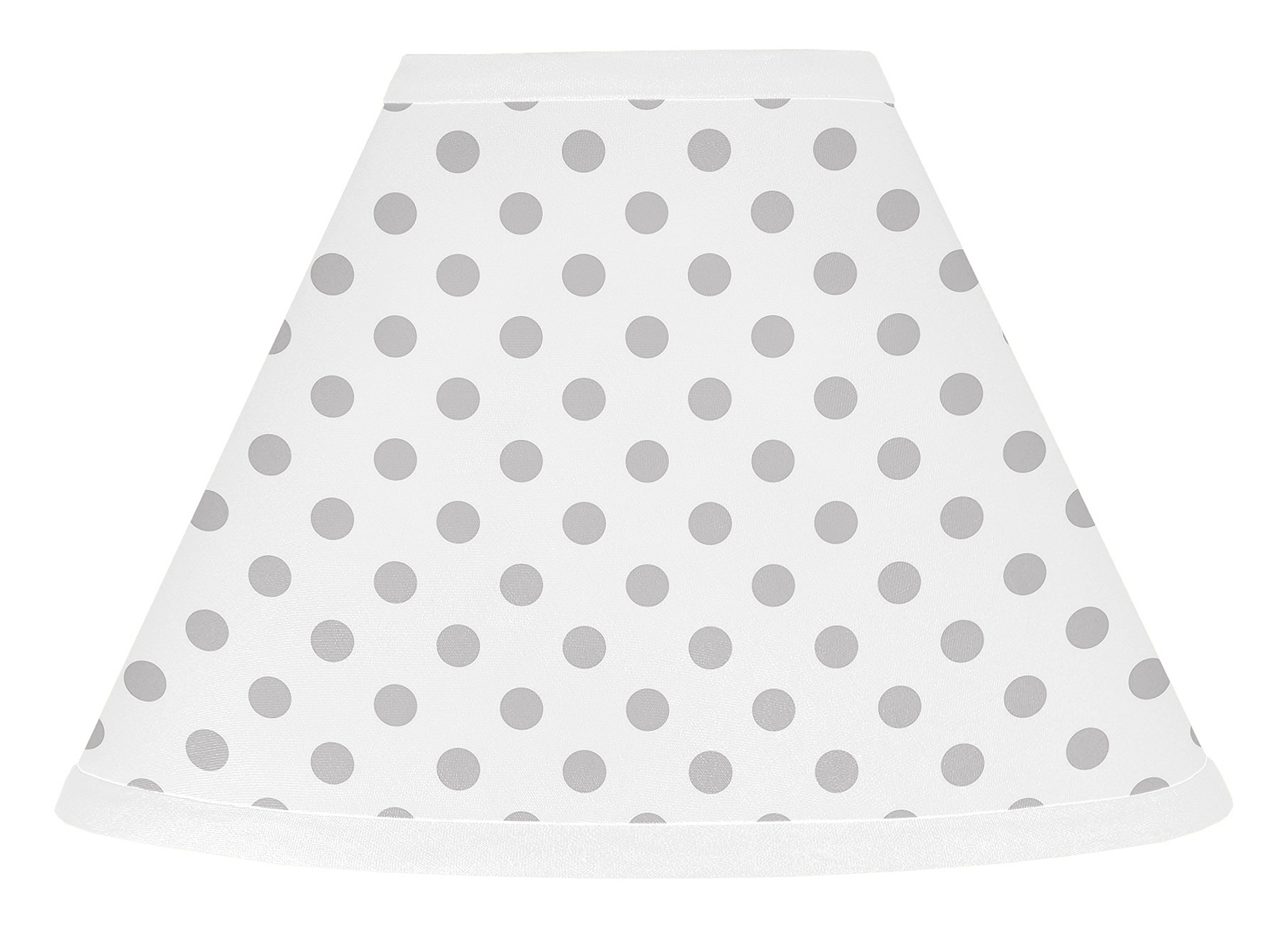 Sweet JoJo Designs Grey and White Polka Dot Lamp Shade for Watercolor Floral Collection by