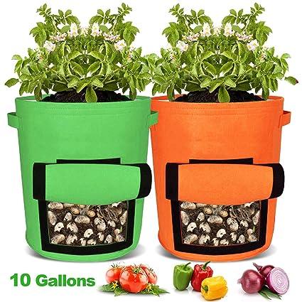 Amazon.com: hongner 2 bolsas de cultivo de patatas, bolsa ...