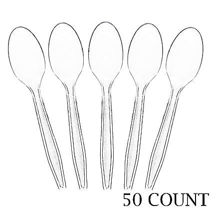 100 x Black Plastic Spoons Strong Heavy Duty Dessert Dinner Reusable