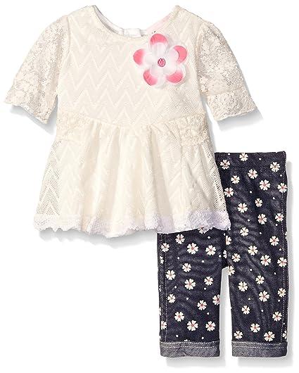 8391709ed8ca Amazon.com: Little Lass Baby Girls' 2 Piece Capri Set Daisy Lace Sleeves,  Ivory, 6-9 Months: Clothing