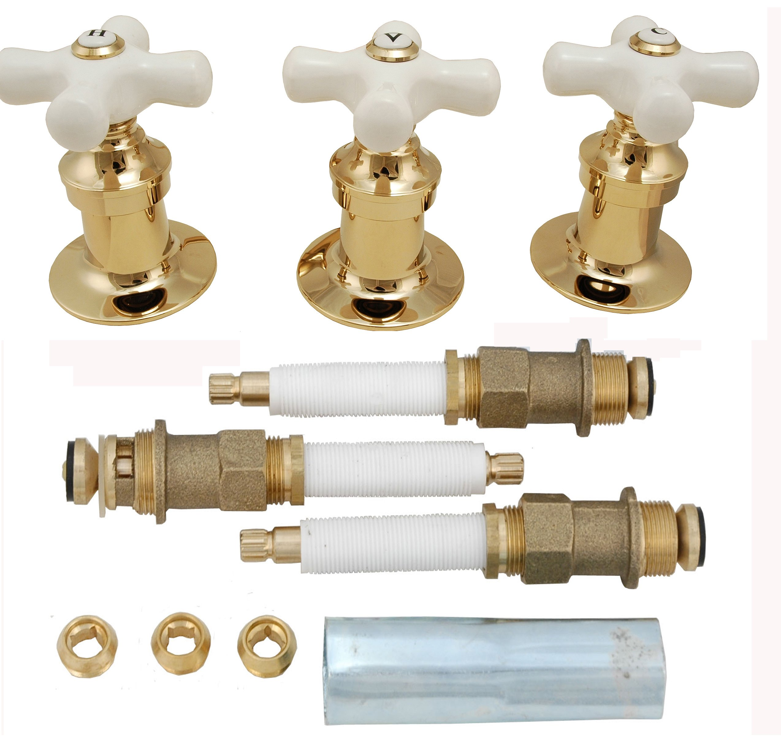 Re-modeling Kit, Fit Price Pfister Shower, with Porcelain Cross Handles, Polish Brass Finish - By Plumb USA