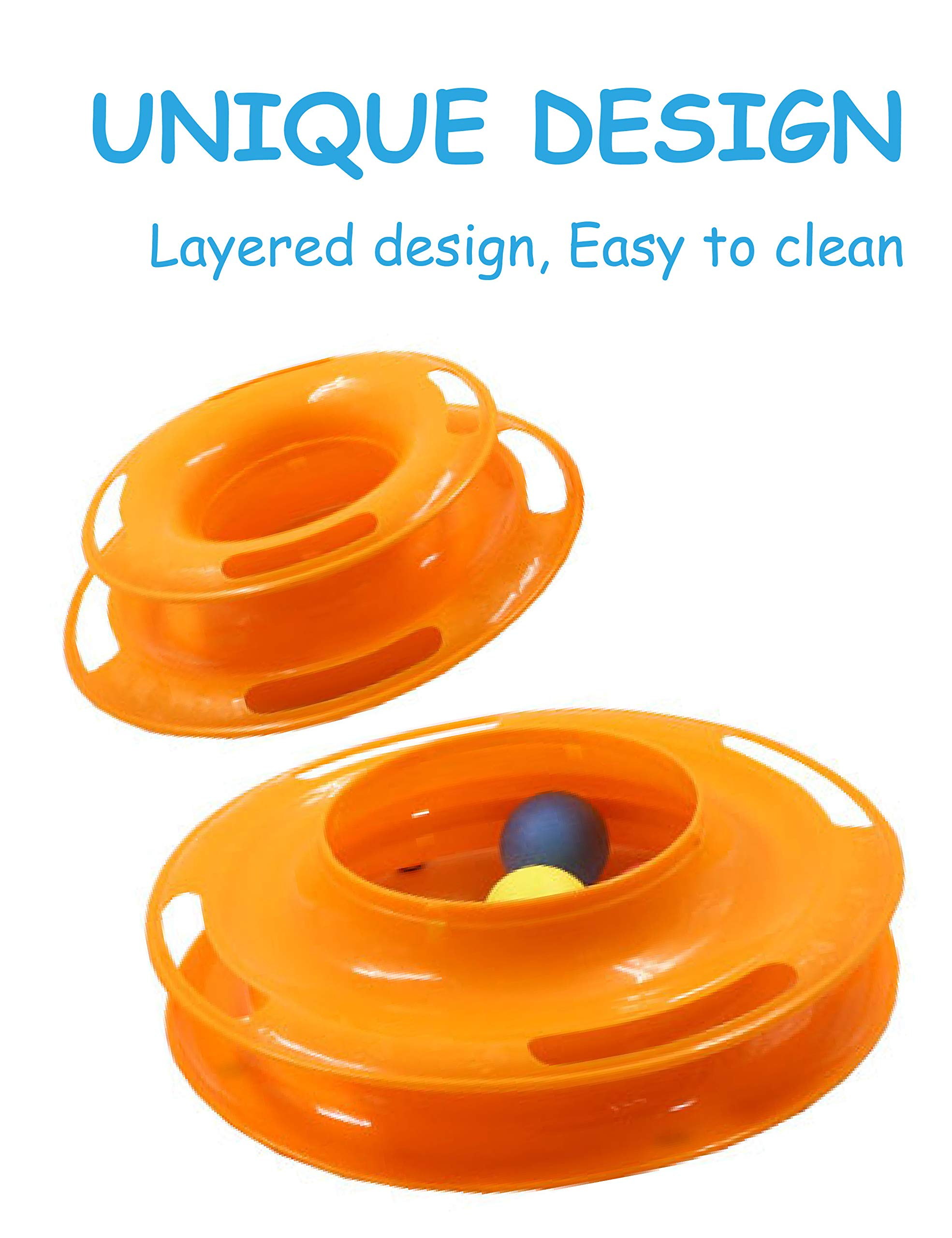 Petove Cat Toys Tower of Tracks 3 Level Cat Tracks Interactive Ball Toy and Feather Fluffy Mouse Toy Set for Cat, Kitten (Orange) by Petove (Image #3)