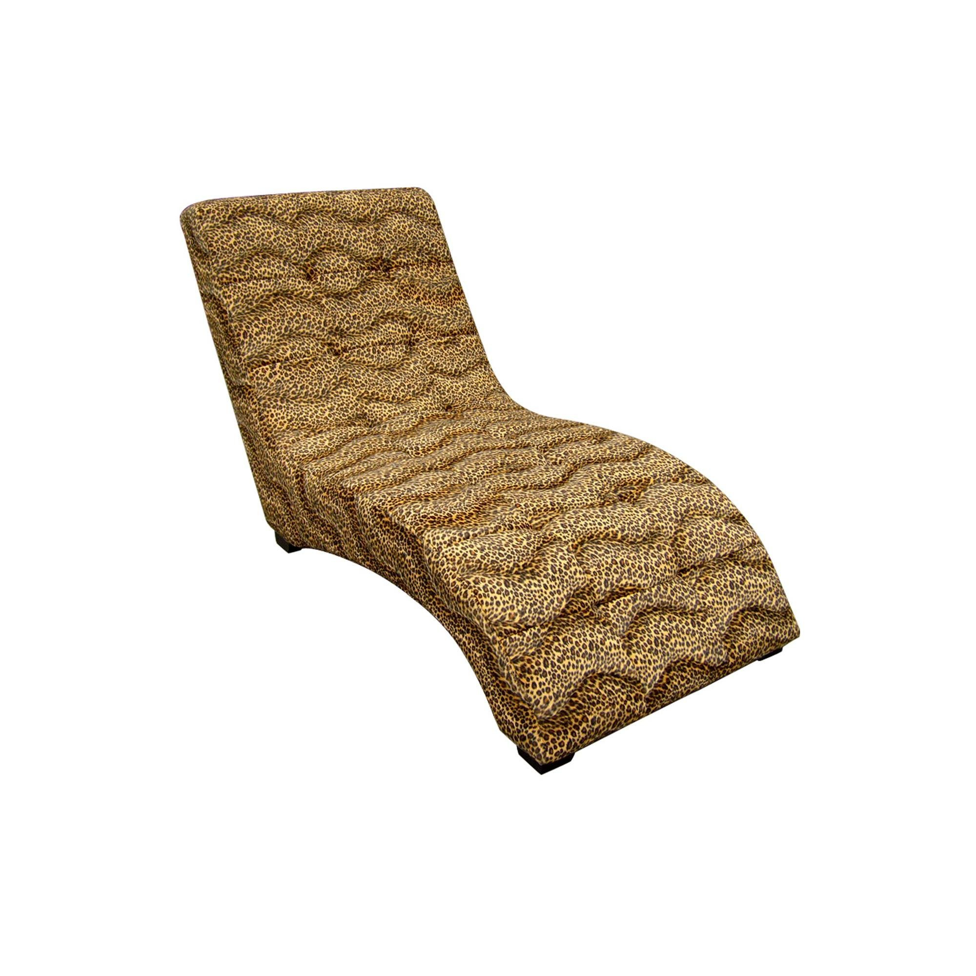 ORE 52'' Long Wooden Modern Chaise Lounge Chair, Leopard Print Faux Suede by ORE