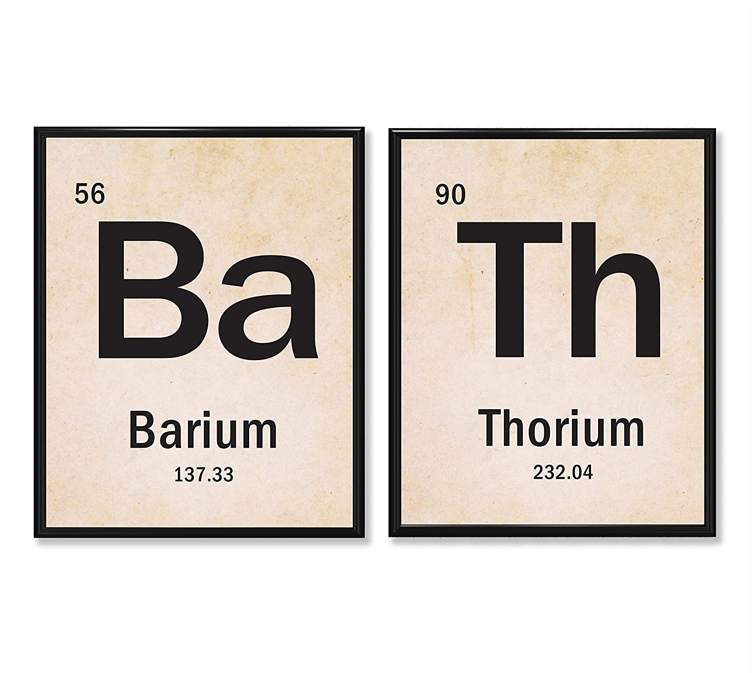 BATH Science Periodic Table of Elements - Set of 2-11x14 Unframed Art Prints - Funny Chemistry Themed Bathroom Decor and Gift Under $25