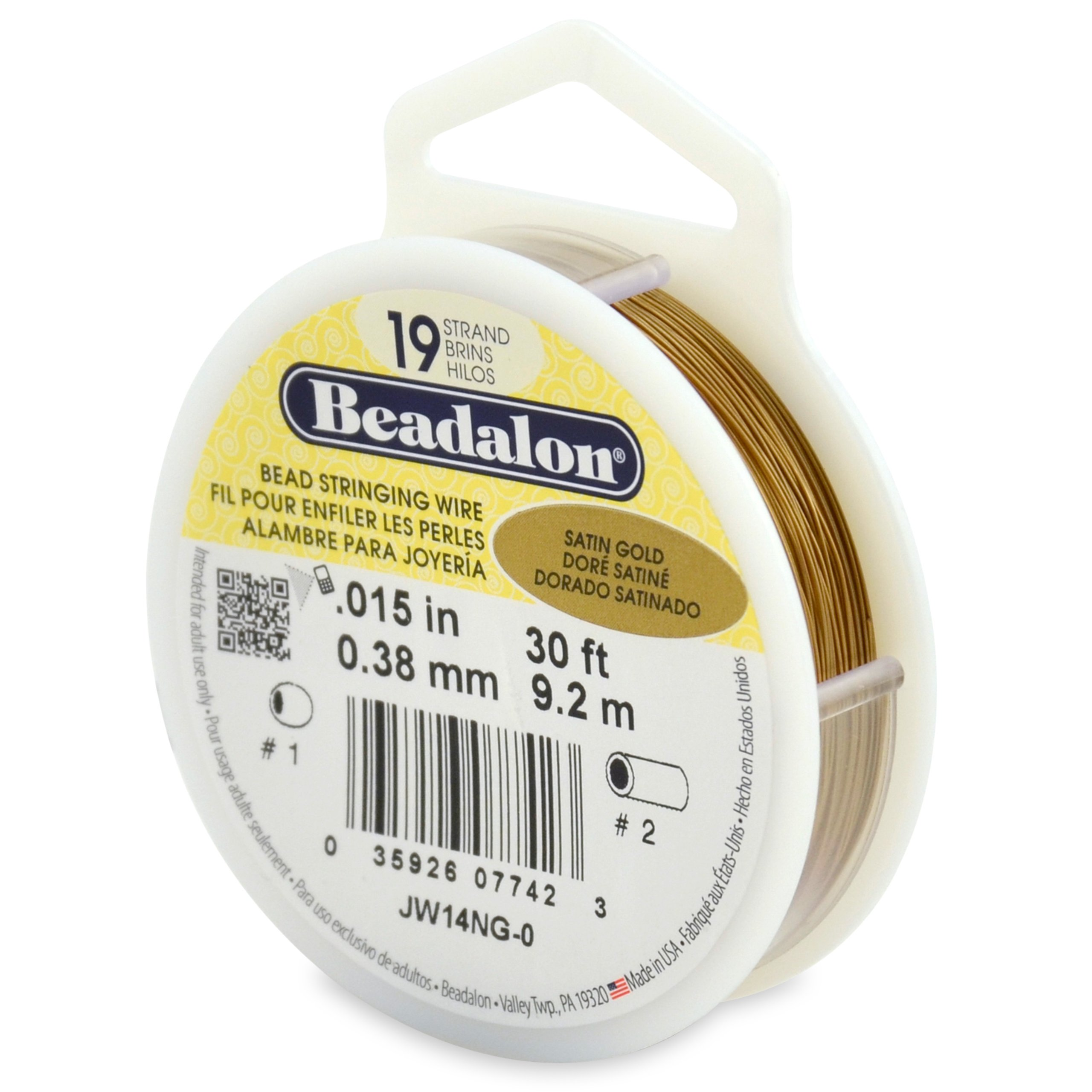 Beadalon Stringing Wire 19-Strand .015-Inch (.38-Millimeter) Diameter 30-Feet/Pkg, Satin Gold