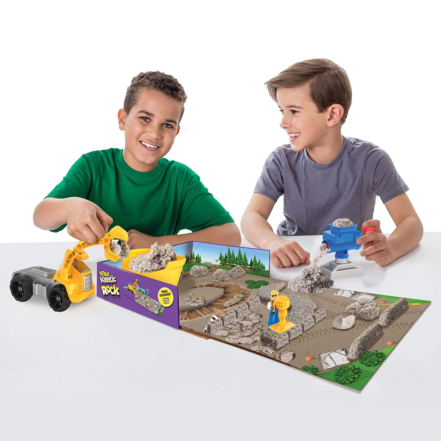 Rock Crusher Toy Kit with Construction Tools for Ages 3 and Up Kinetic Rock