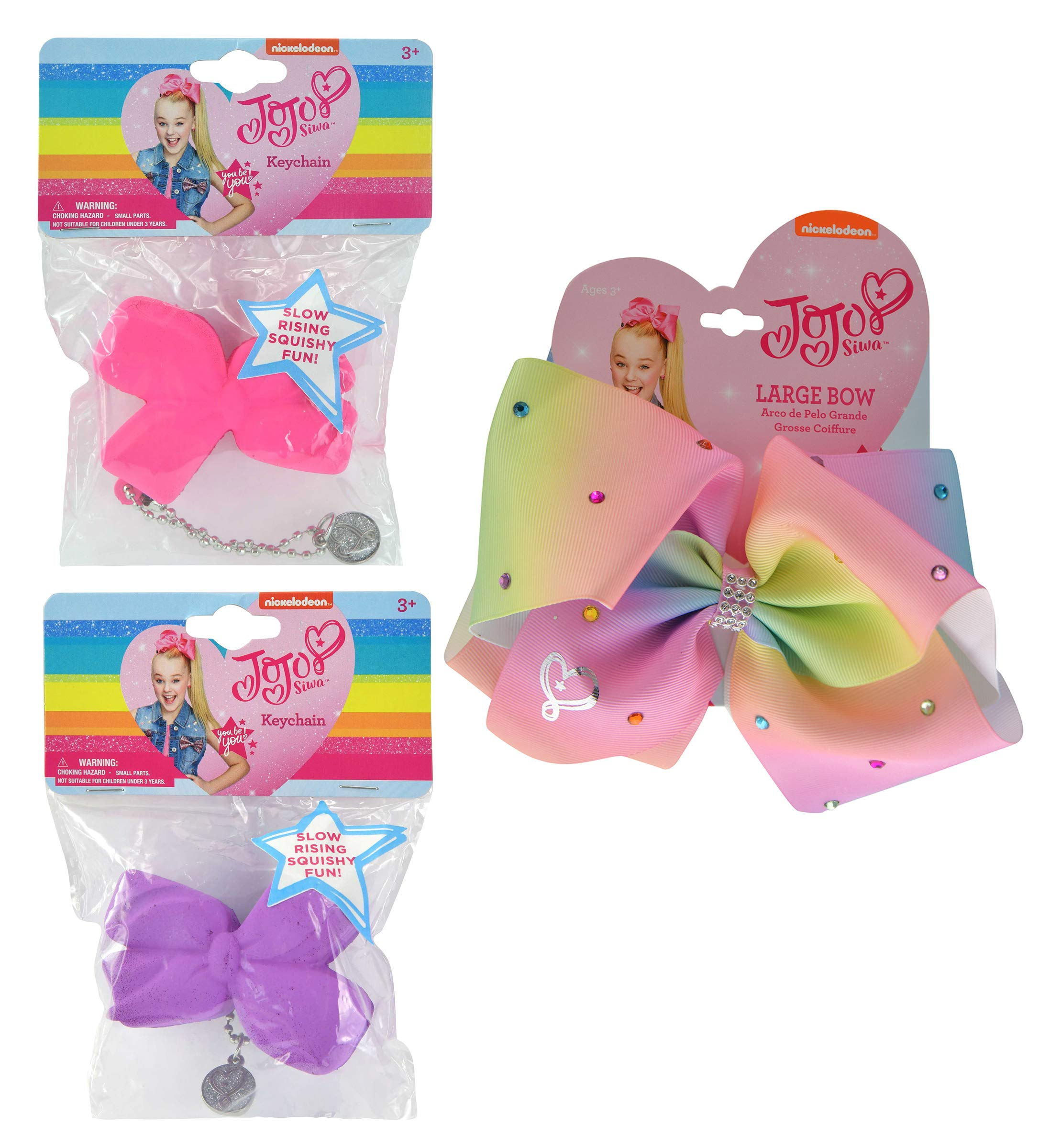 Mozlly Value Pack - JoJo Siwa Girls Rhinestone Pastel Signature Collection Hair Bow Clip and Slow Rising Squishy Hair Bow Keychains (2pc Set) (2 Items)