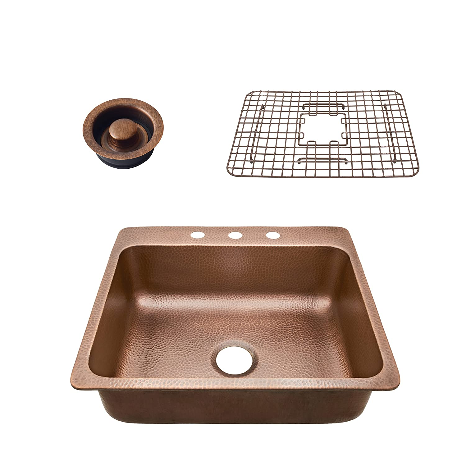 Sinkology SK102-25AC-WG-D Rosa Drop In Kitchen Sink, 25 x 22 x 8 , Antique Copper