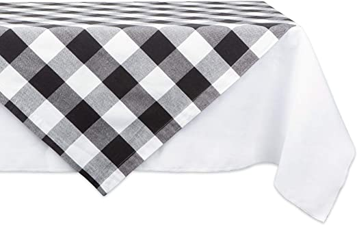 40x40 Black Indoor or Outdoor Parties Everyday Use DII Cotton Buffalo Check Plaid Square Table Topper for Family Dinners or Gatherings