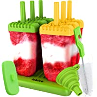 Lebice Popsicle Molds Set - BPA Free - 6 Ice Pop Makers + 1 Silicone Lid + Silicone Funnel + Cleaning Brush + Recipes E…