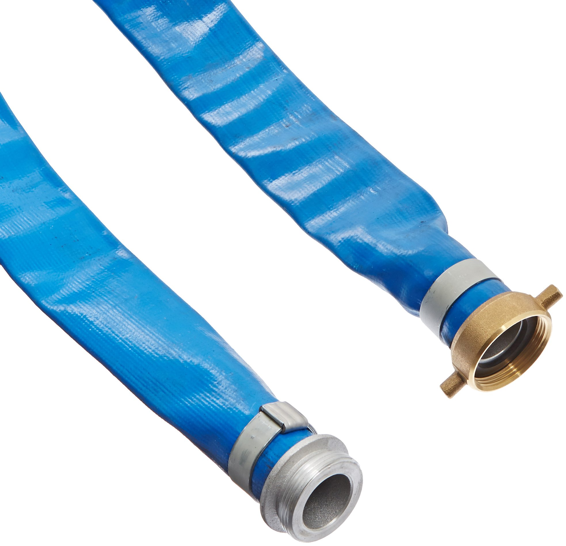 Apache 98138015 1-1/2'' x 50' Blue PVC Lay-Flat Discharge Hose with Aluminum Pin Lug Fittings