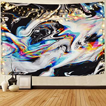 Multi, 51.2 x 59.1 inches Alishomtll Colorful Gouache Tapestry Psychedelic Art Tapestry Marble Swirl Tapestries Natural Landscape Trippy Tapestry for Room