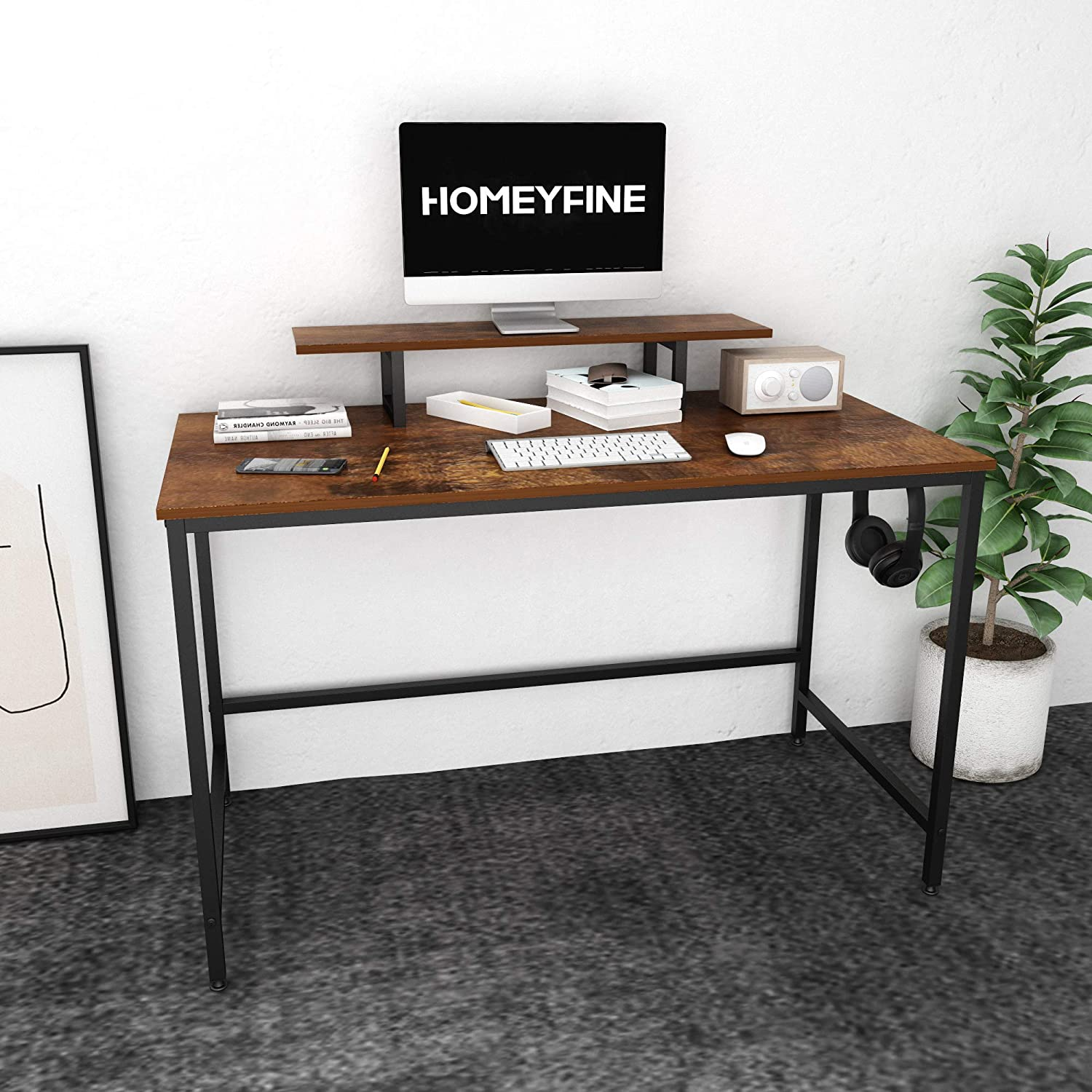 Amazon.com: HOMEYFINE Computer Desk,Laptop Table with Storage for