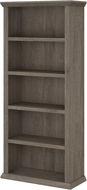 Bush Furniture Yorktown Tall 5 Shelf Bookcase, Restored Gray