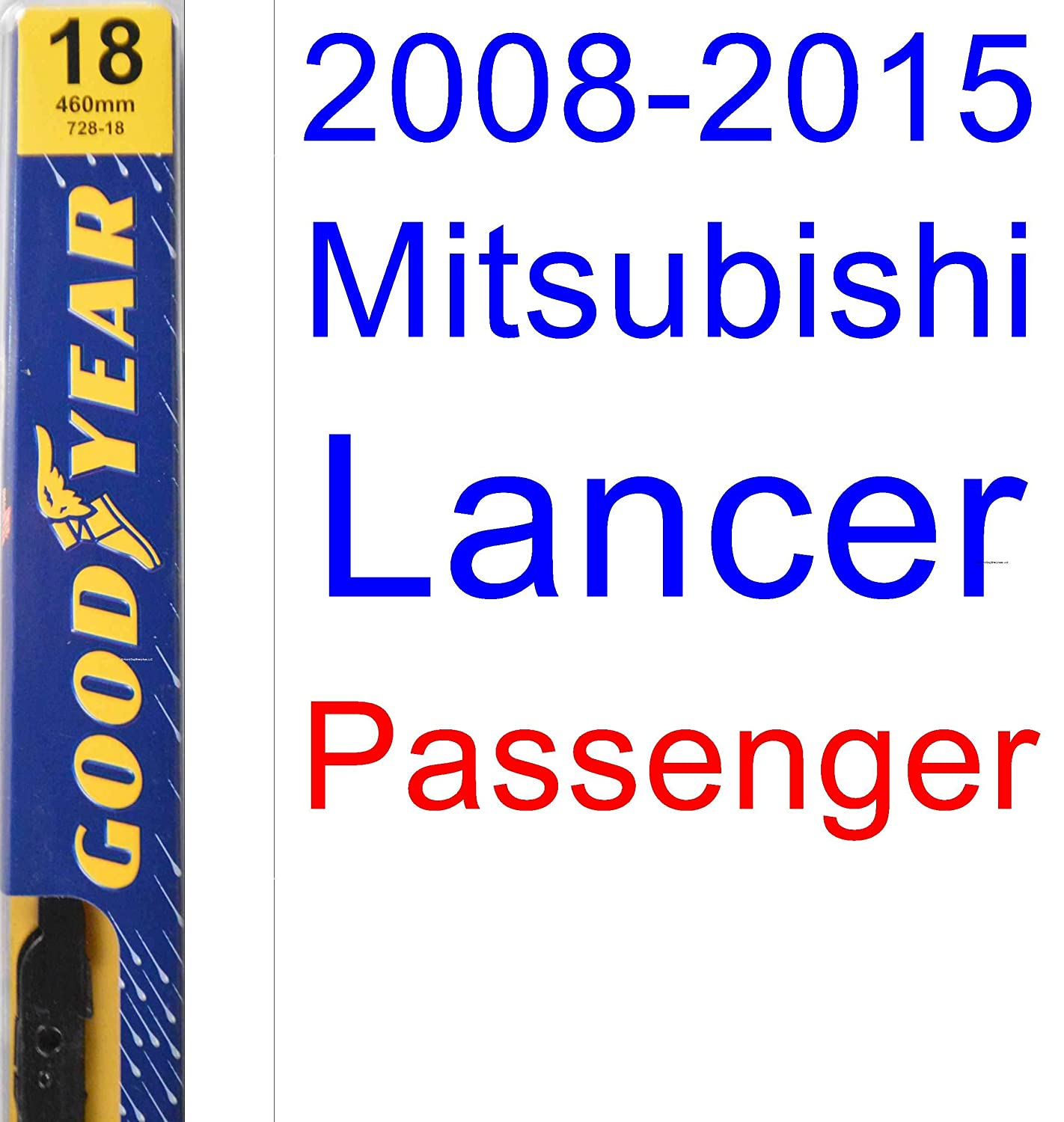 Amazon.com: 2008-2015 Mitsubishi Lancer Replacement Wiper Blade Set/Kit (Set of 2 Blades) (Goodyear Wiper Blades-Premium) (2009,2010,2011,2012,2013,2014): ...